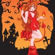 Devil girl with fire - Stock Vector