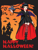 Vampire girl with a bat — Vector de stock