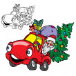 Santa Claus in a car with Christmas tree — Stock Vector