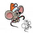 Royalty-Free Stock Vector Image: Cute Christmas mouse with candy