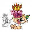 Stock Vector: Bear with a birthday cake