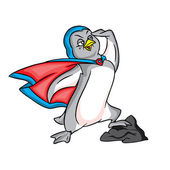 Penguin superman in blue cape — Vector de stock