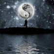 Stock Photo: Lovers in front of moon