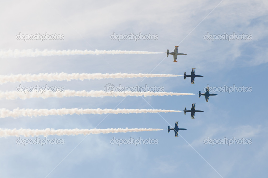 Civil airplanes making aerobatic manoeuvres at the International Aviation and Space salon MAKS 2011, August 16, 2011 at Zhukovsky, Russia  Stock Photo #6932307