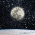 aarde en de maan — Stockfoto