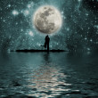 Stock Photo: Space, moon, lake