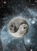 Moon with a sign of yin and yang — Stock Photo