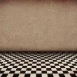 Vintage brown room with tiled black and white floor and artistic shadows ad — Stock Photo #7102788
