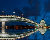 The Cathedral of Christ the Savior at night, Moscow, Russia — Stok fotoğraf