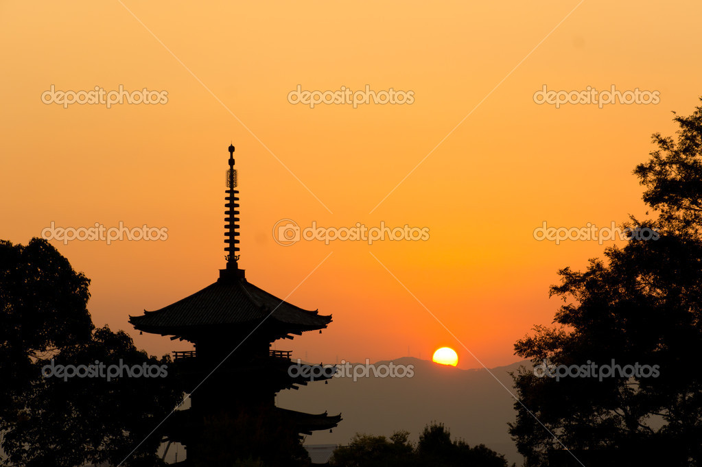 Beautiful sunset in Kyoto, japan  Stock Photo #6907790
