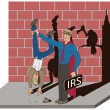 Illustraction of a irs man taking tax -  