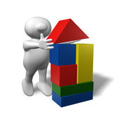 Logoman building blocks house — Stock Photo