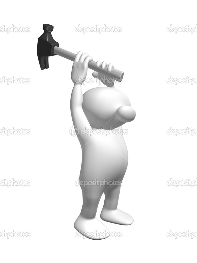 White 3D Man with a hammer — Stock Photo #7113568