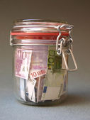 Money in preserving jar (1) — Stock Photo