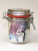 Money in preserving jar (2) — Stock Photo