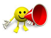 Mr.Smilie - megaphone — Stock Photo