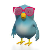 Bluebert with pink glasses — Stock Photo