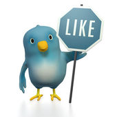 Bluebert with LIKE-sign — Stock Photo
