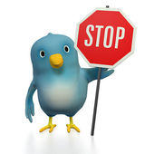 Bluebert with STOP sign — Stockfoto