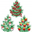 Christmas tree with ornaments — Vector de stock #6964309