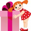 Little girl with a gift — Stock Vector