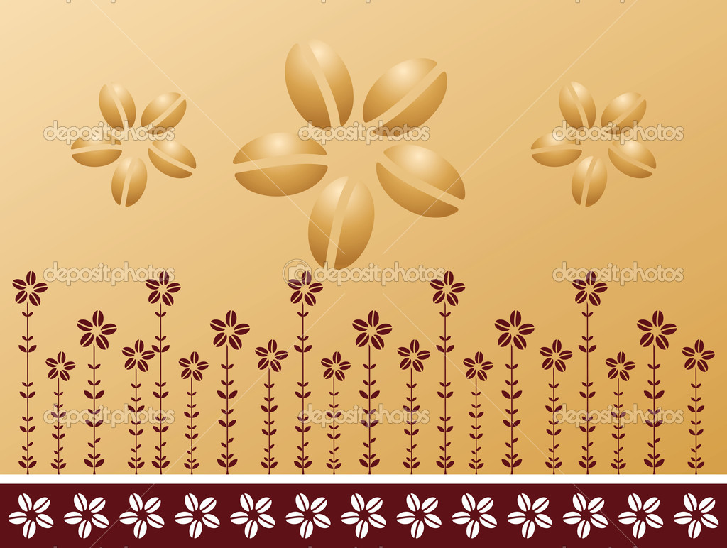 Pattern of coffee beans, flowers, plants, vector illustration — Stock Vector #7313102