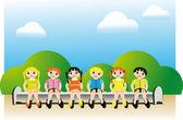 Children's team — Stock Vector