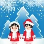 Boy girl in Christmas dress — Stock Vector