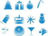 Set vector images simbol New Year, Christmas, Party Supplies — Stock Vector