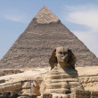 Pyramid of Khafre and Sphinx - Stock Photo