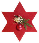 Red star with christmas decoration — Stock Photo