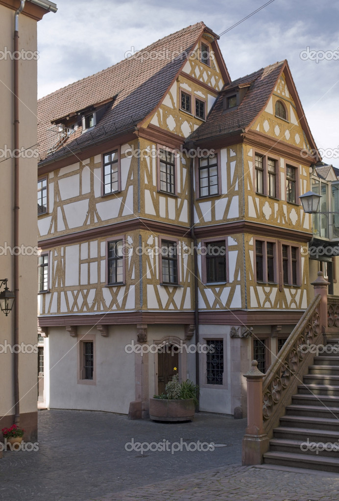 Pictorial half timbered house in Wertheim am Main named Haus der vier Gekru00f6nten — Stock Photo #7117043