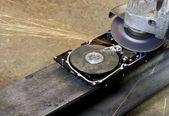 Hard disk grinding — Stock Photo