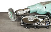 Hdd and grinder — Stock Photo