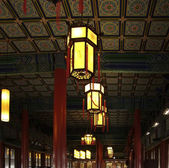Chinese ceiling and lamps — Stock Photo