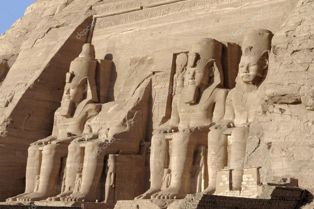 Architectural detail of the historic Abu Simbel temples in Egypt (Africa) showing some ancient stone sculptures  Stock Photo #7127898