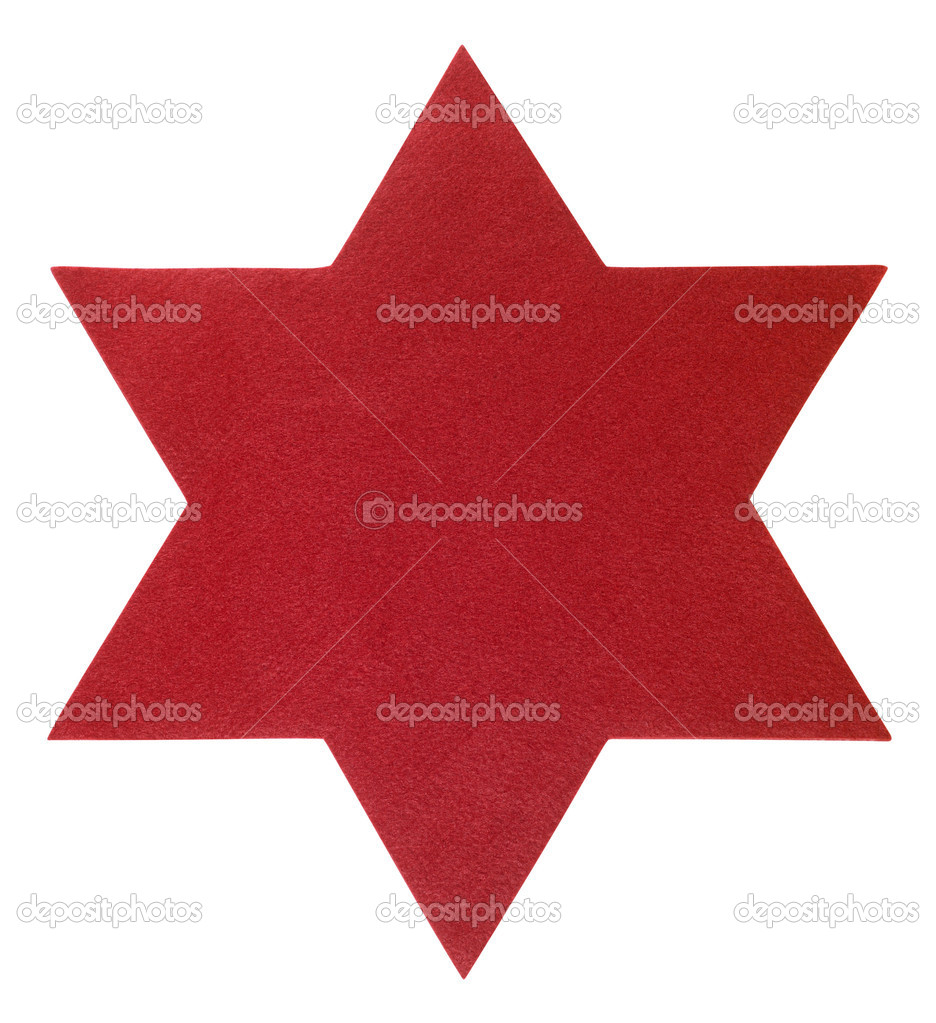 Studio photography of a red felt star seen from above, isolated on white with clipping path — Stock Photo #7128123