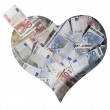 Crumbled euro banknotes — Stock Photo