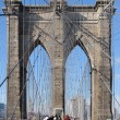 Royalty-Free Stock Photo: Walking over Brooklyn Bridge