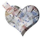 Crumbled euro banknotes — Stock Photo