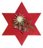 Kızıl yıldız ve noel dekorasyon — Stok fotoğraf