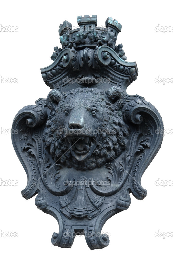 Decorative facade adornment showing the head of a bear in Berlin /Germany) isolated on white — Stock Photo #7152207