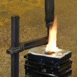 Stock Photo: Burning vise and hard disks