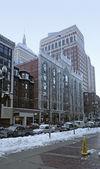 Vista de la ciudad de boston en el invierno — Foto de Stock
