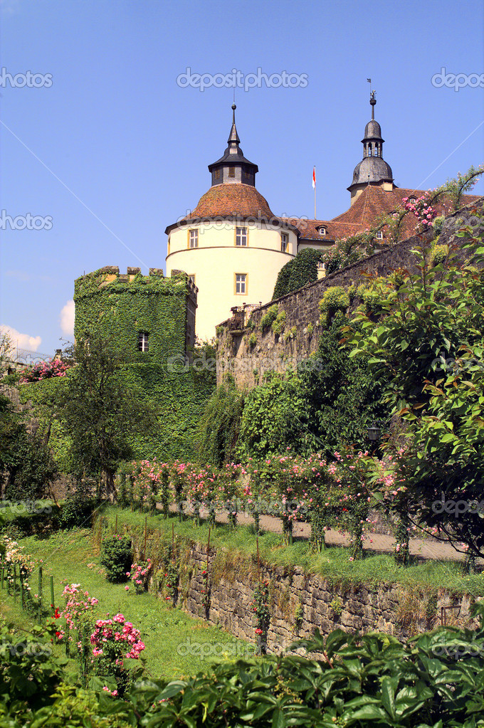 Romantic detail of the castle Langenburg /Southern Germany) and park at a bright summer day — Stock Photo #7167298