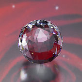 Twinkling diamond sphere in red back — Stock Photo