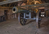 Cannon en el castillo de haut-koenigsbourg — Foto de Stock