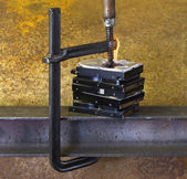 Burning vise and hard disks — Foto Stock