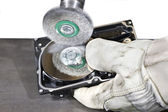 Scrubbing a hard disk — Stock Photo