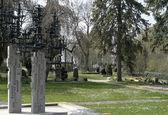 Graveyard at spring time — Stock Photo